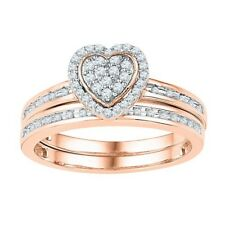 10k Rose Gold Round Diamond Heart Bridal Wedding Set 1/4 Cttw