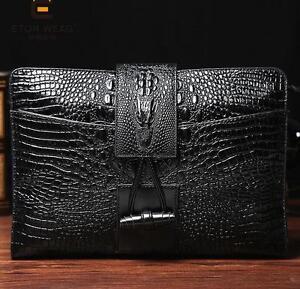 Men black Leather Crocodile messenger handbag wallet purse Clutch Bag