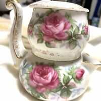 Lefton Stackable Sugar and Creamer with.Pink Roses