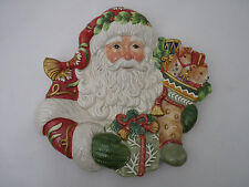 Fitz and Floyd Classics Winter Holiday Santa Dish Wall Serving Decorative Plate