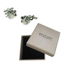 Mens Silver Jaguar Zoo Animal Cufflinks & Gift Box By Onyx Art