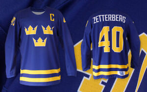 Team Sweden BLUE AUTHENTIC Ice Hockey Jersey Custom Name and Number