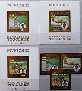 TOGO 1973 962-64 B Block 70-72 B C194A-C194C Olympics 1972 München GOLD MNH