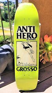 """Jeff Grosso Anti-Hero Skateboard Deck Shaped 9.25"""" Art by Lance Mountain"""