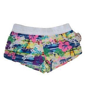 Op Shorts Juniors Med 7-9 Multi-Color Hawaiian Print Beach Shorts Pockets NWT