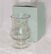 """PartyLite Jardiniere Hurricane 8.5"""" (22 cm) Hand Painted Etched Glass Lovely"""