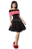 Bardot Striped Black and Red Fit and Flare Vintage Style Retro Dress