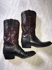 RARE Authentic Vintage Lucchese Lizard Cowboy Boots Made In America Black Cherry