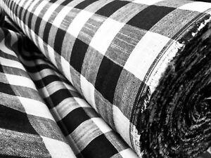 Vichy Lino a Cuadros Tela Material Buffalo Negro 140cm Ancho