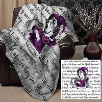 "Alice In Wonderland Fleece Blanket Throw Burst of Colour Mad Hatter 58"" x 58"""