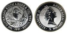 Australia 5 Dollars 1991 Australian Kookaburra Argento Silver #538