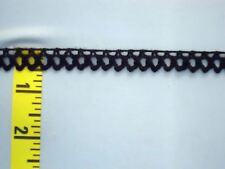 "1/2"" Crocheted Crochet Cluny Lace Trim Edging Black 10 yds #N42"