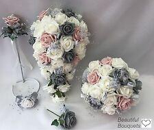 Wedding Flowers Ivory Rose Crystal Bouquet, Bride, Bridesmaid, Flower-Girl Wand