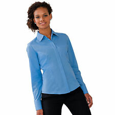 Womens Russell  Long Sleeve Polycotton Easycare Fitted Work Office Blouse