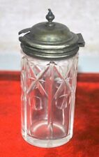 Antique Old Sterling Silver Lidded Glass Spice Box Collectible Dryfruit Jar