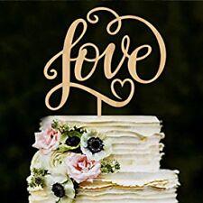 Love Rustic Wood Engagement Wedding Cake Topper