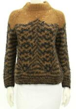DRIES VAN NOTEN Camel Black Mohair Blend Mock Neck Sweater M Totokaelo RARE