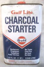 Vintage Gulf Oil Co. Gulf Lite Charcoal Barbecue Grill Fire Starter Empty Can