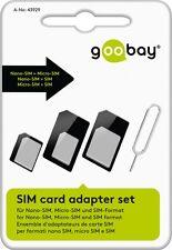 SIM Card Kartenadapter Set 3in1 SIM Nano Micro Samsung + Öffner für iPhone Pad