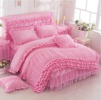 Lace Edge Pink Comfor Bedding Set Duvet Quilt Cover+Sheet+Pillow Case Four-Piece