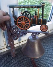 SUPERB JOSEPH BREWER & SONS TRACTION ENGINE CAST IRON WALL MOUNTING BELL LOUD
