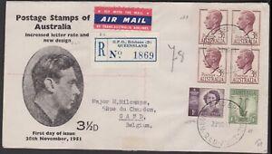 1951 TAA KGVI 3 1/2d Block of 4 Australia ROUVRE COX Registered FDC to BELGIUM