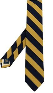 Polo Ralph Lauren Mens striped Navy/Gold silk narrow tie 100% Silk Made In Italy