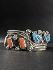 David Tune Navajo Creek Turquoise Coral Sterling Silver Cuff Bracelet