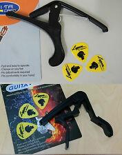 1x Classical Guitar Capo+ 1x Acoustic Guitar Capo,Black, with 3 free picks each