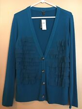 NWT Ann Taylor Womens' Deep Teal Blue Button Front Cardigan Size M