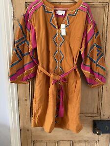 Anthropologie Orange & Pink Stasiana Embroidered Tunic - Size Medium RRP £148