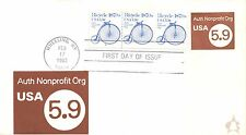 1982 5.9¢ BICYCLE PNC PLATE STRIP OF 3 #4 ON 5.9¢ NON-PROFIT STAMPED ENVELOPE