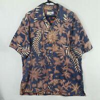 VTG Reyn Spooner Hawaiian Shirt USA XXL 2XL Gold Nude Tag Reverse Floral Print
