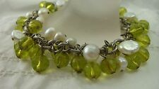 "GENUINE WHITE BAROQUE PEARL GREEN FACETED ART GLASS 7 1/2"" TOGGLE BRACELET"