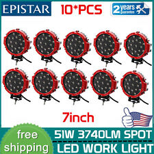10X 7''inch 51w Round LED Work Light Spot Offroad Driving Boat Jeep Bumper RED