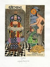 """Tarot """"Gemini""""  Nude, Child, Tiger, Ex libris Etching by Paolo  Rovegno, Italy"""