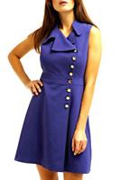 Karen Millen DY012 Blue Button Detail Asymmetric Work Midi Party Dress UK 8 36