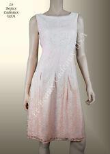 IVANKA TRUMP Women Dress Size 8 IVORY SALMON Sleeveless LACE Knee Dressy LBCUSA