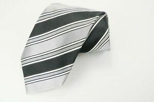 """Donald Trump Signature Necktie 60"""" Grey Black White Striped Luxury Silk Neck Tie"""