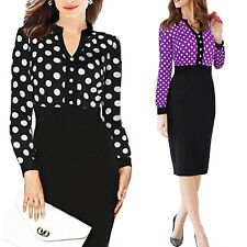 2018 Polka Dot Knee Length Slimming Office Party Womens Cocktail Dress Size 8-16