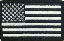 American USA Flag Iron-On Patch Morale Black & White Version Tactical Black