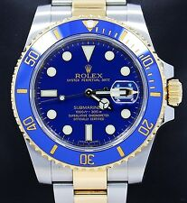 Rolex Submariner 116613 Two Tone 18K Yellow Gold /Steel Blue Ceramic Watch *MINT