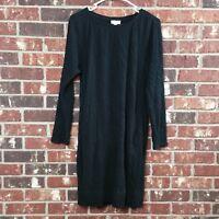 J Jill Purejill Women's size S Black Tunic Crinkle Double Knit Dress Long Sleeve