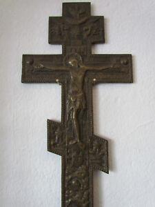 Kreuz Russland 19 Jh Original Bronze Orthodoxes Kreuz Große 38 x 20 cm