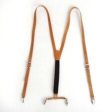 Mens Faux Leather Y-Back Retro Braces Clip-On Brown/Tan