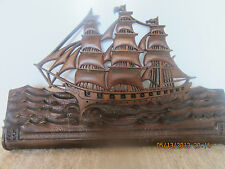 Old, Hand Carved, Wooden, Ship'S Wall Plaque