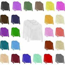 WLSTP Women Ladies Plain Long Sleeve 3 Pack Crew Neck Jumper Plain Casual TShirt