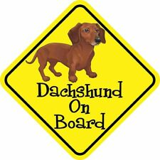 Dachshund On Board Reflective Car Sticker Sign Chocolate Sausage Dog Cute Pet