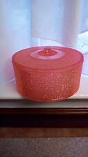 Vintage Aegaline Footed Pink Sparkly Hard Plastic Trinket Sewing Box USA
