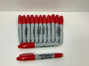 Super Sharpie Permanent Markers Bullet Point Red Fine 12CT PLUS BONUS Twin Tip!
